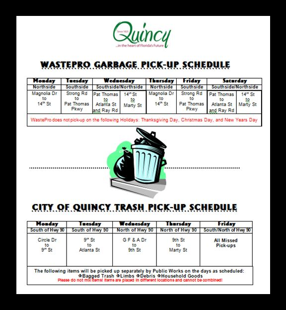 PW Trash Pickup Schedule