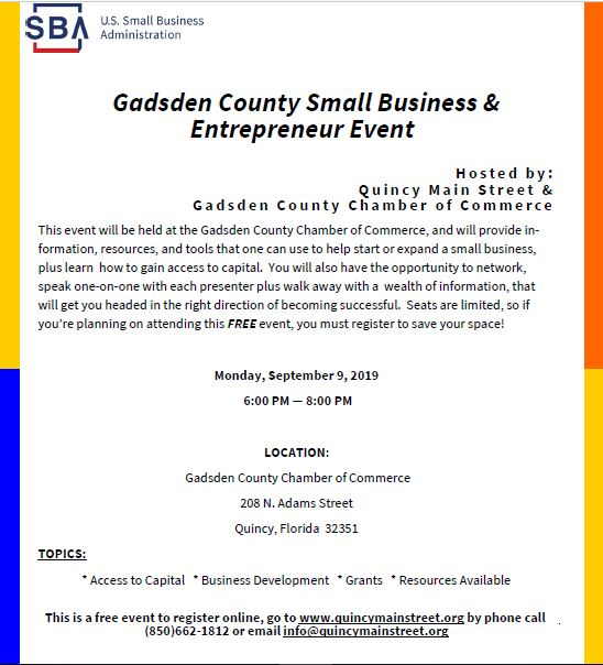 Gadsden County Small Business & Entrepreneur Event @ Gadsden County Chamber of Commerce