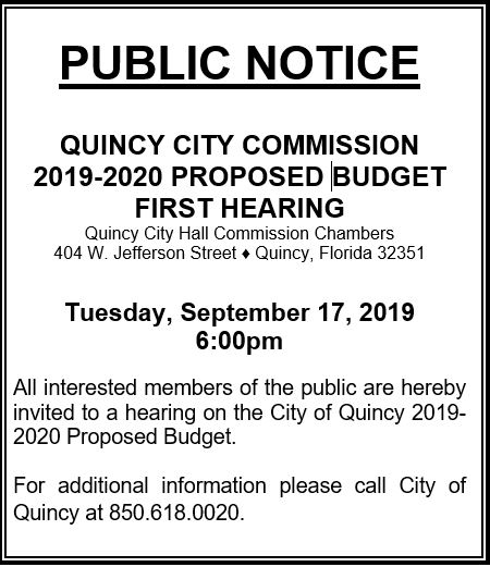 Notice of First Budget Hearing @ City Hall Commission Chambers