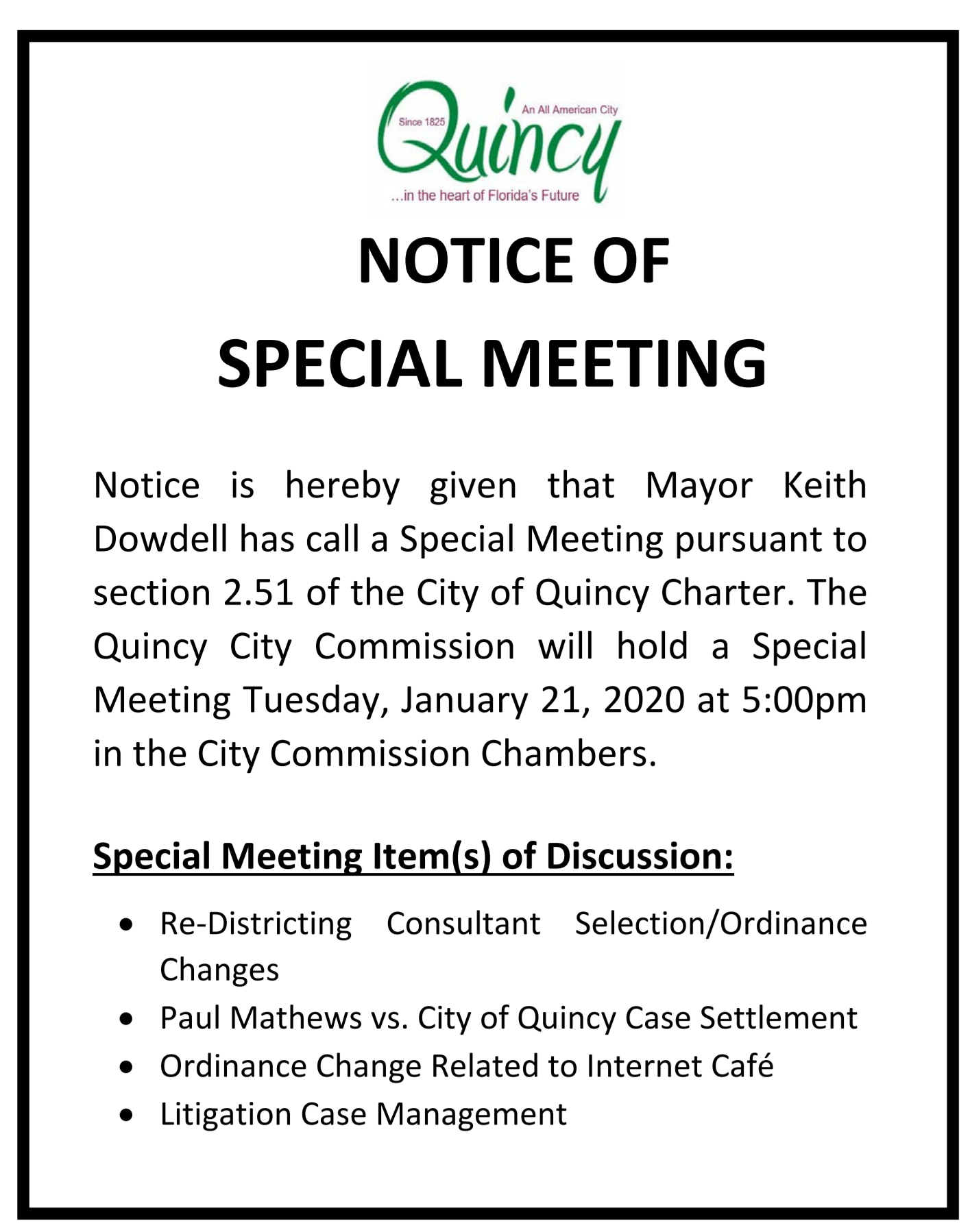 Special Meeting @ City Hall Commission Chambers