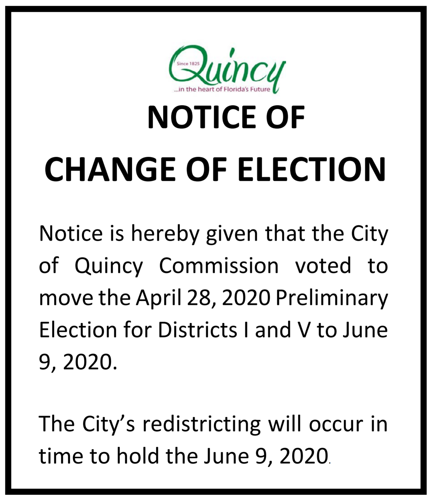 Notice of Election Date Changed