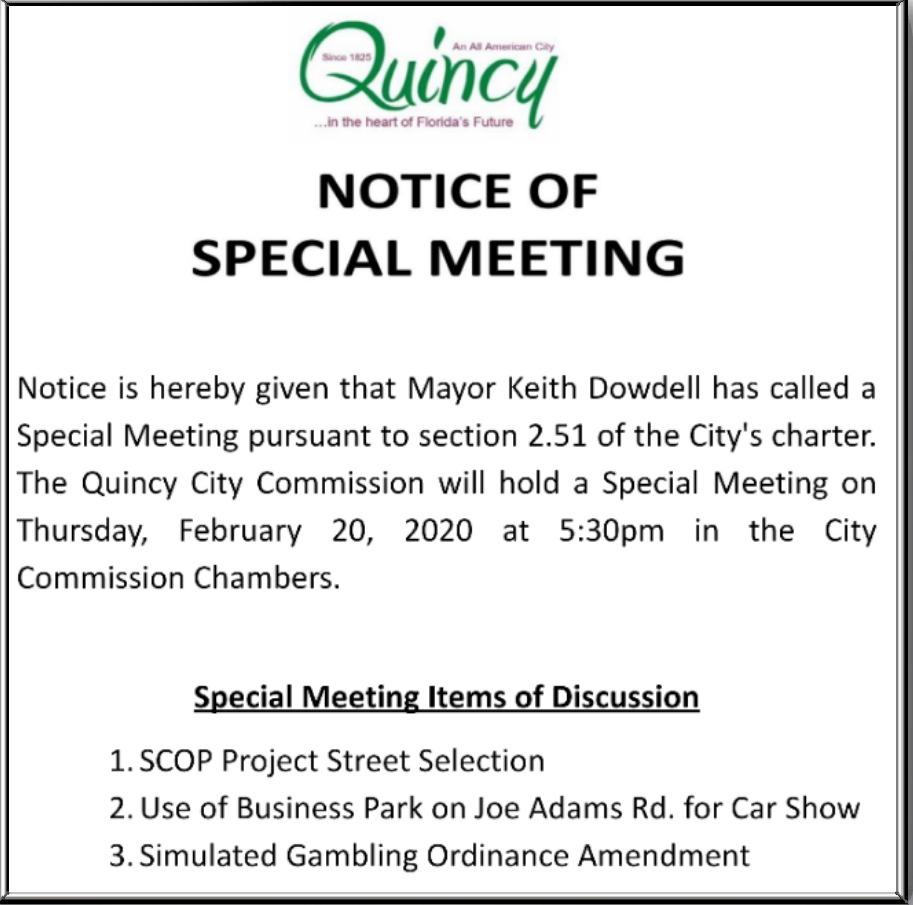 Notice of Special Meeting @ City Hall Commission Chambers