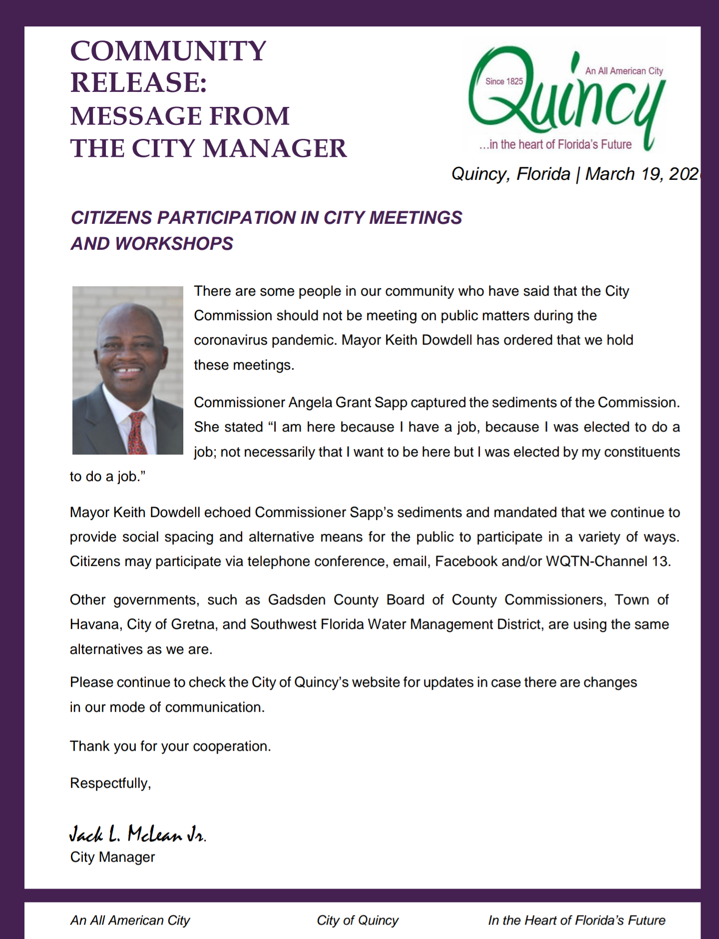 Message from City Manager 03192020