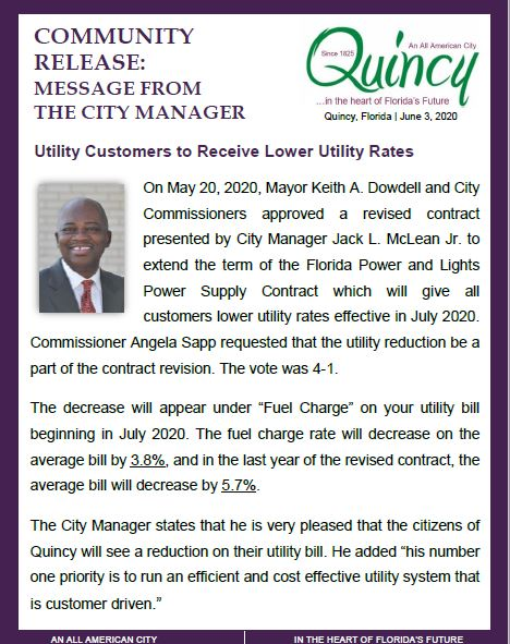 Community Release from Manager on LOWER UTILITY RATES