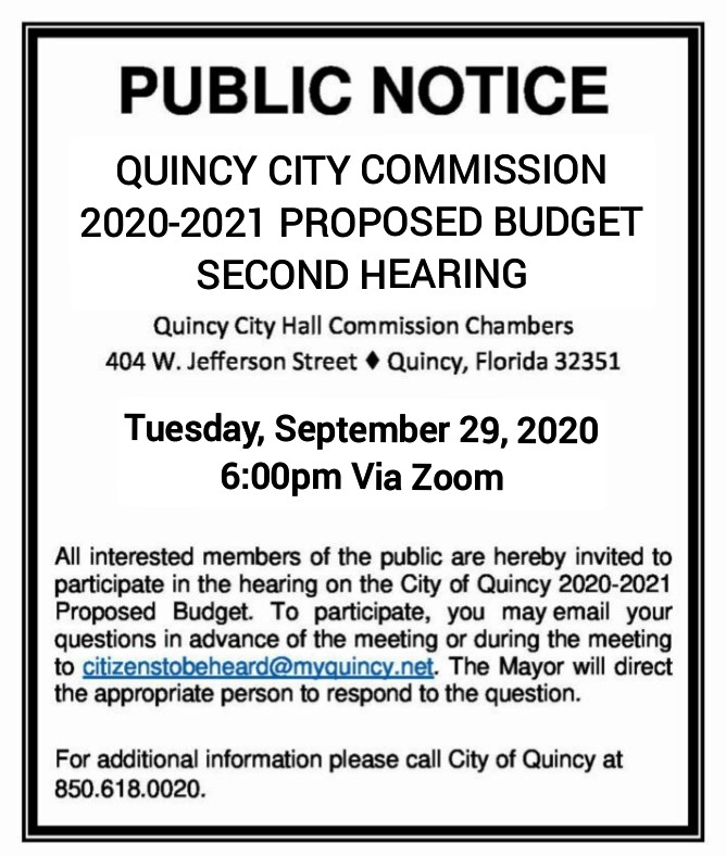 Budget Hearing @ City of Quincy Commission Meeting
