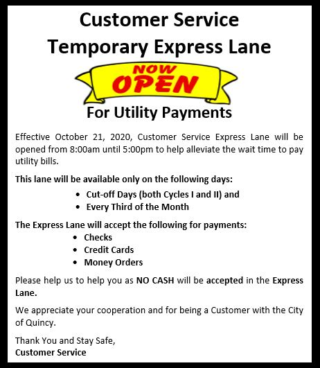 Temporary Express Lane Now Open
