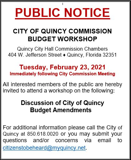 Budget Amendments Workshop @ Quincy Commission Chambers
