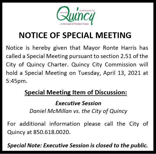 Notice of Special Meeting @ Quincy Commission Chambers