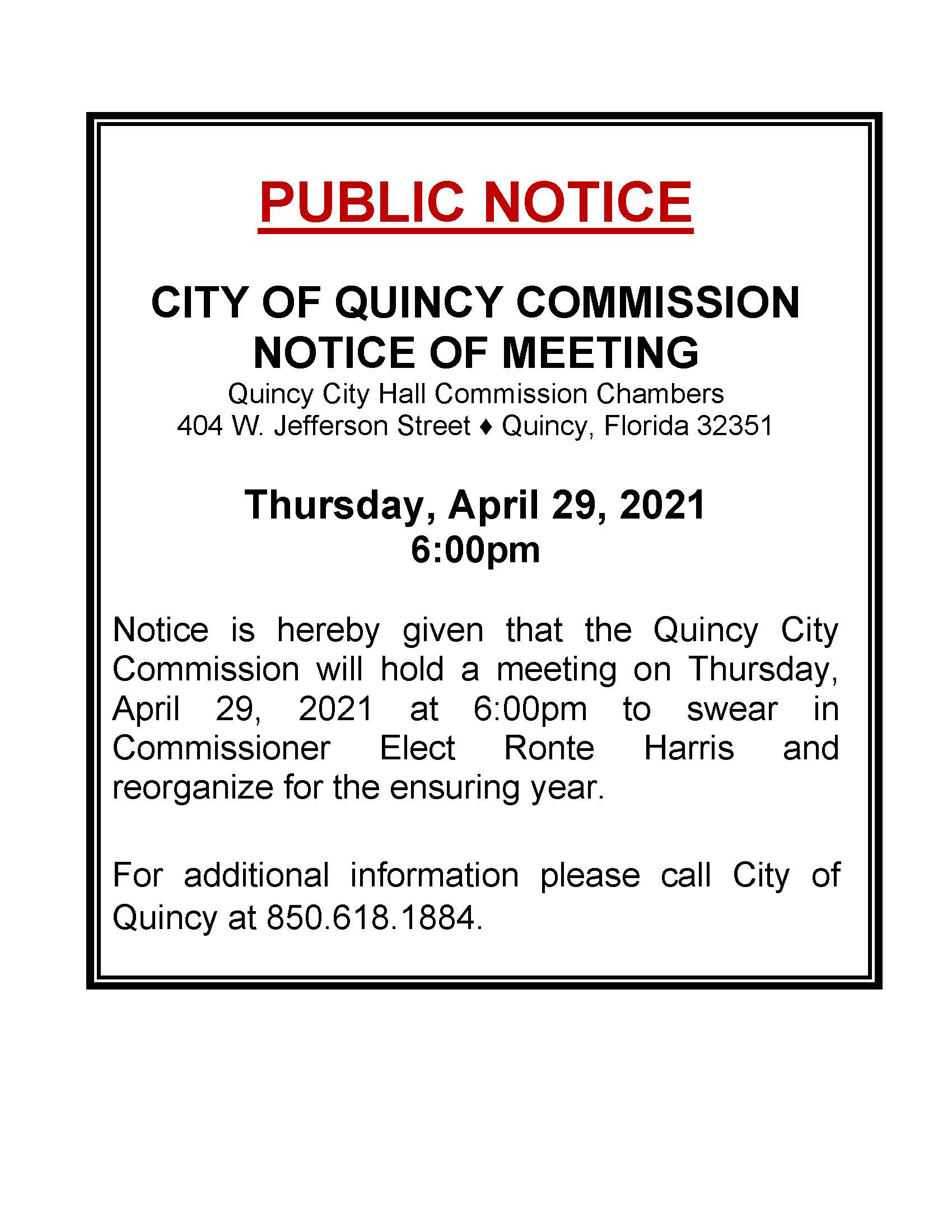 Notice of Reorganization Meeting @ City Commission Chambers